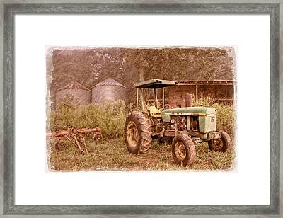 John Deere Antique Framed Print by Debra and Dave Vanderlaan