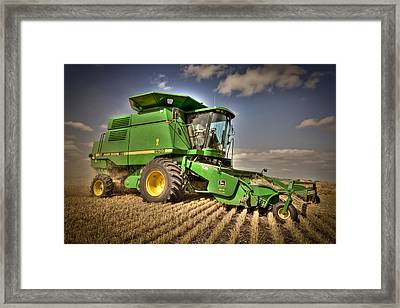 John Deere Combine Framed Print by Matt Dobson