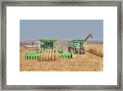 John Deere Combine Picking Corn Followed By Tractor And Grain Cart Framed Print