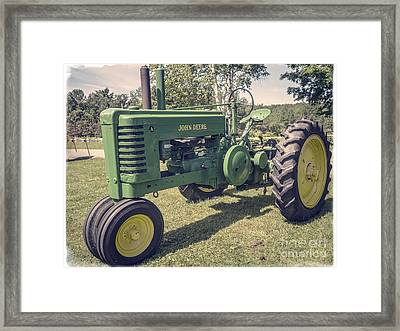 John Deere Green Tractor Vintage Style Framed Print