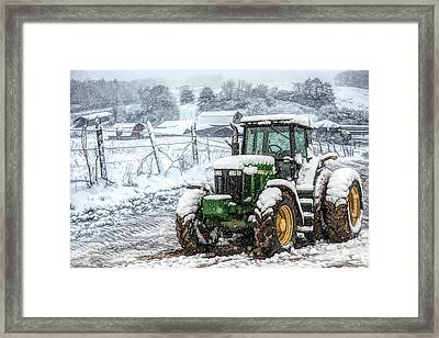 John Deere On A Snowy Day Ink Drawing Framed Print