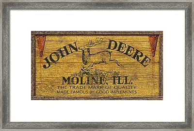 John Deere Sign Framed Print by WB Johnston