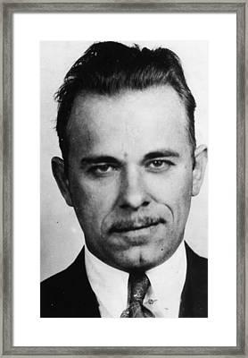 John Dillinger Mug Shot Black And White Framed Print by Tony Rubino