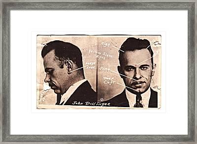 John Dillinger Mug Shot Identifying Features Framed Print