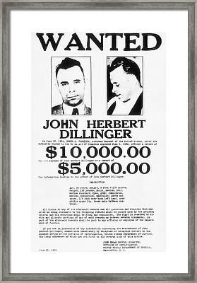 John Dillinger Wanted Poster 1934  Framed Print