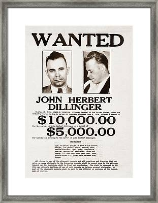 John Dillinger Wanted Poster Framed Print by War Is Hell Store