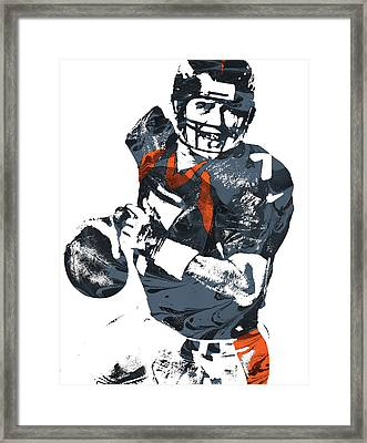 John Elway Denver Broncos Pixel Art Framed Print by Joe Hamilton