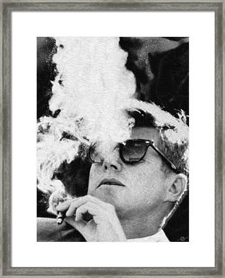 John F Kennedy Cigar And Sunglasses Black And White Framed Print