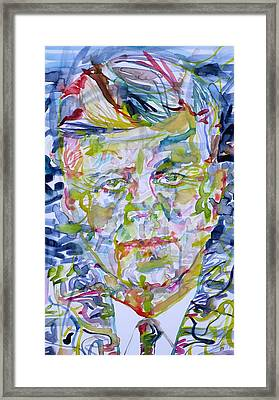 Framed Print featuring the painting John F. Kennedy - Watercolor Portrait.2 by Fabrizio Cassetta