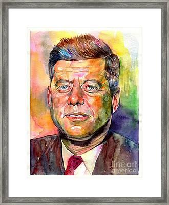 John F. Kennedy Watercolor Framed Print