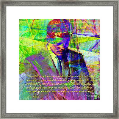 John Fitzgerald Kennedy Jfk In Abstract 20130610v2 Square Text Framed Print