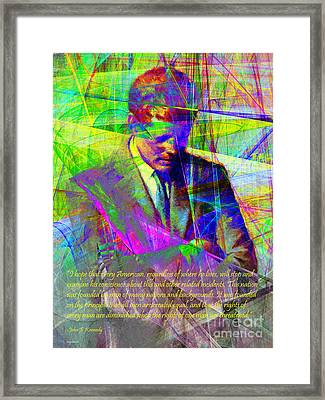John Fitzgerald Kennedy Jfk In Abstract 20130610v2 Text Framed Print