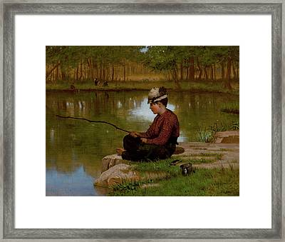 John George Brown Waiting For A Bite Central Park 1886 Framed Print