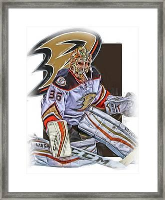 John Gibson Anaheim Ducks Oil Art Framed Print by Joe Hamilton