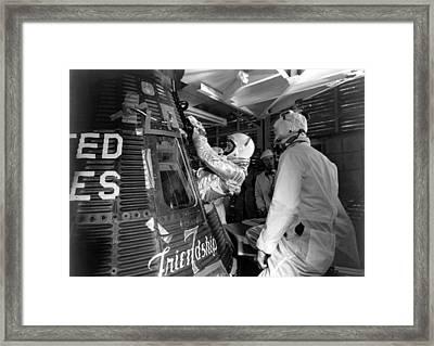 John Glenn Entering Friendship 7 Spacecraft Framed Print