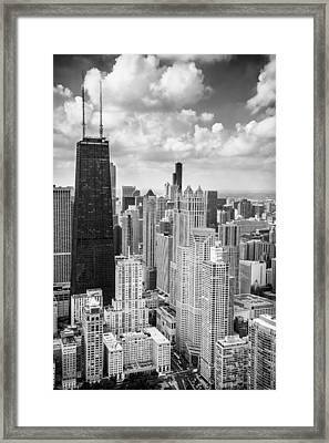 John Hancock Building In The Gold Coast Black And White Framed Print by Adam Romanowicz