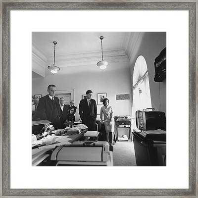 John Kennedy And Others Watching Framed Print by Everett