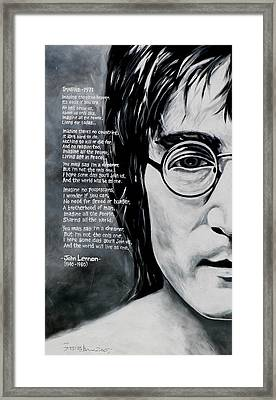 John Lennon - Imagine Framed Print by Eddie Lim