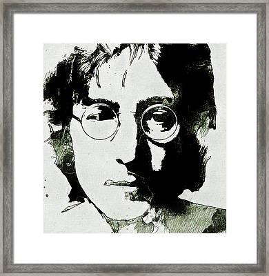 John Lennon Grunge Portrait Framed Print by Dan Sproul