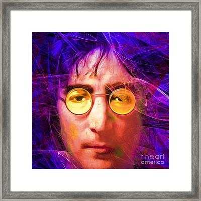 John Lennon Imagine 20160521 Square V3 Framed Print by Wingsdomain Art and Photography