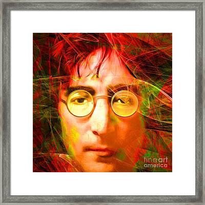 John Lennon Imagine 20160521 Square Framed Print by Wingsdomain Art and Photography