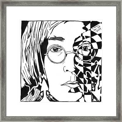 John Lennon Maze Framed Print by Yonatan Frimer Maze Artist