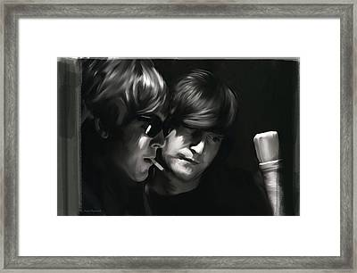 John Lennon Paul Mccartney Wordscapes  Framed Print by Iconic Images Art Gallery David Pucciarelli