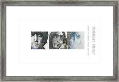 John Lennon Triptych Framed Print