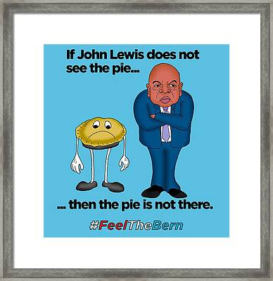 John Lewis Does Not See The Pie - Black Lettering Framed Print by Sean Corcoran