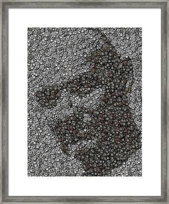 John Locke Dharma Button Mosaic Framed Print by Paul Van Scott