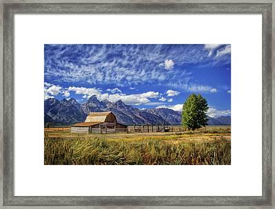 John Moulton Barn In The Tetons Framed Print