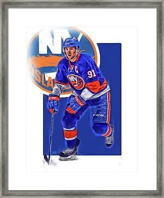 John Tavares New York Islanders Oil Art Series 3 Framed Print by Joe Hamilton