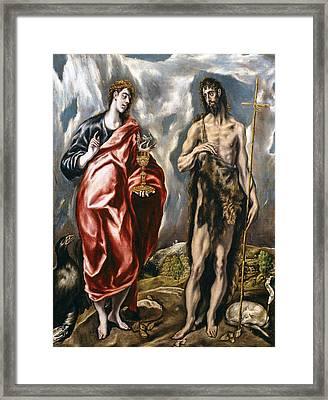 John The Baptist And John The Evangelist  Framed Print by El Greco