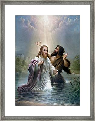 John The Baptist Baptizes Jesus Christ Framed Print by War Is Hell Store