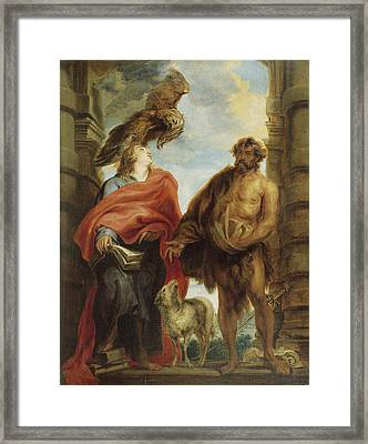 John The Evangelist And Saint John The Baptist Framed Print by Anthony van Dyck
