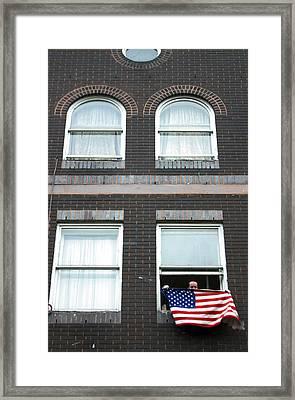 John Waves His Flag 5 Framed Print by Jez C Self