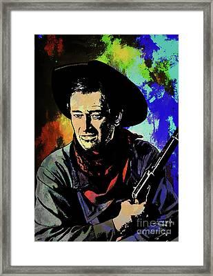 Framed Print featuring the painting John Wayne, by Andrzej Szczerski