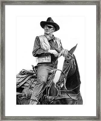 John Wayne As Rooster Cogburn Framed Print by Ronny Hart