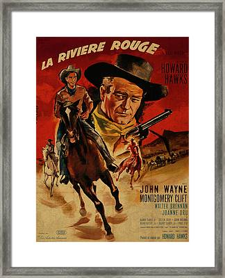 John Wayne Red River French Version Vintage Classic Western Movie Poster Framed Print