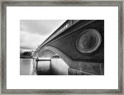 John Weeks Bridge Charles River Harvard Square Cambridge Ma Black And White Framed Print by Toby McGuire