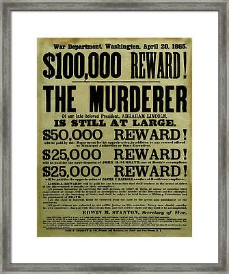 John Wilkes Booth Wanted Poster Framed Print by War Is Hell Store