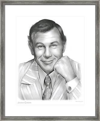 Johnny Carson Framed Print by Greg Joens