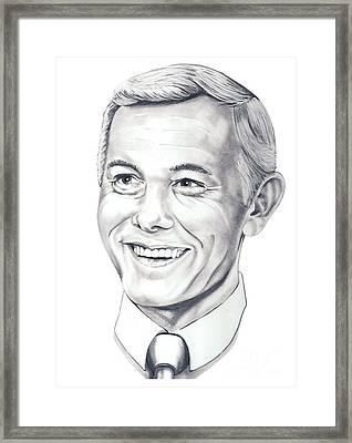 Johnny Carson Framed Print by Murphy Elliott