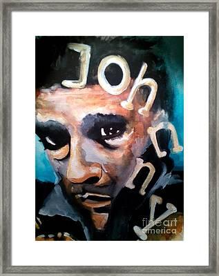 Johnny Cash Framed Print by Chrisann Ellis