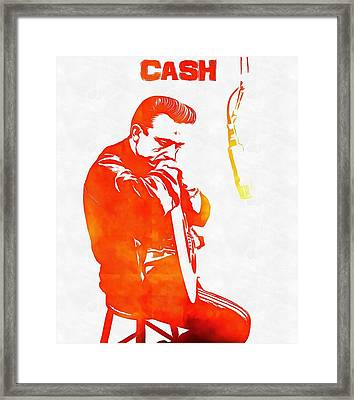 Johnny Cash Framed Print by Dan Sproul