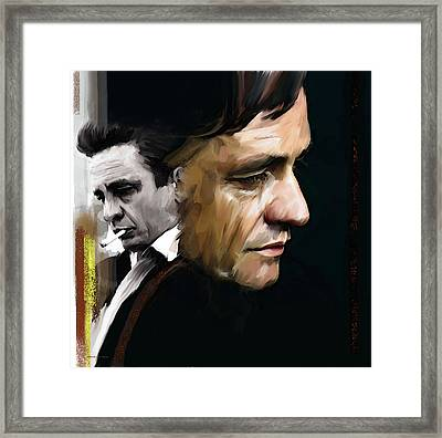 Framed Print featuring the painting Johnny Cash  Hurt by Iconic Images Art Gallery David Pucciarelli