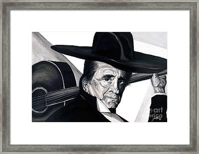 Johnny Cash Framed Print by Keith  Thurman