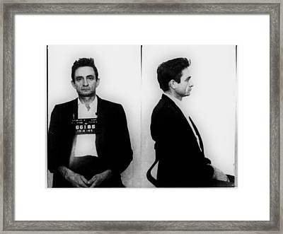 Johnny Cash Mug Shot Horizontal Framed Print by Tony Rubino