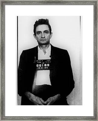 Johnny Cash Mug Shot Vertical Framed Print by Tony Rubino