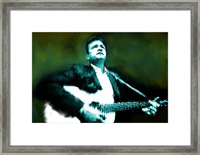 Johnny Cash Watercolor  Framed Print